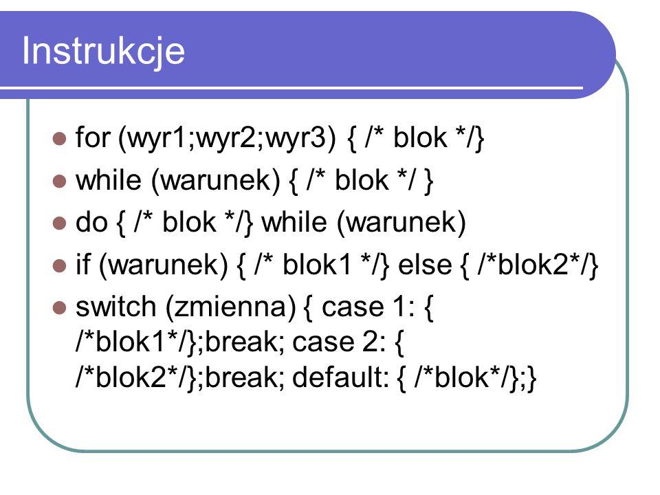 Instrukcje for (wyr1;wyr2;wyr3) { /* blok */}