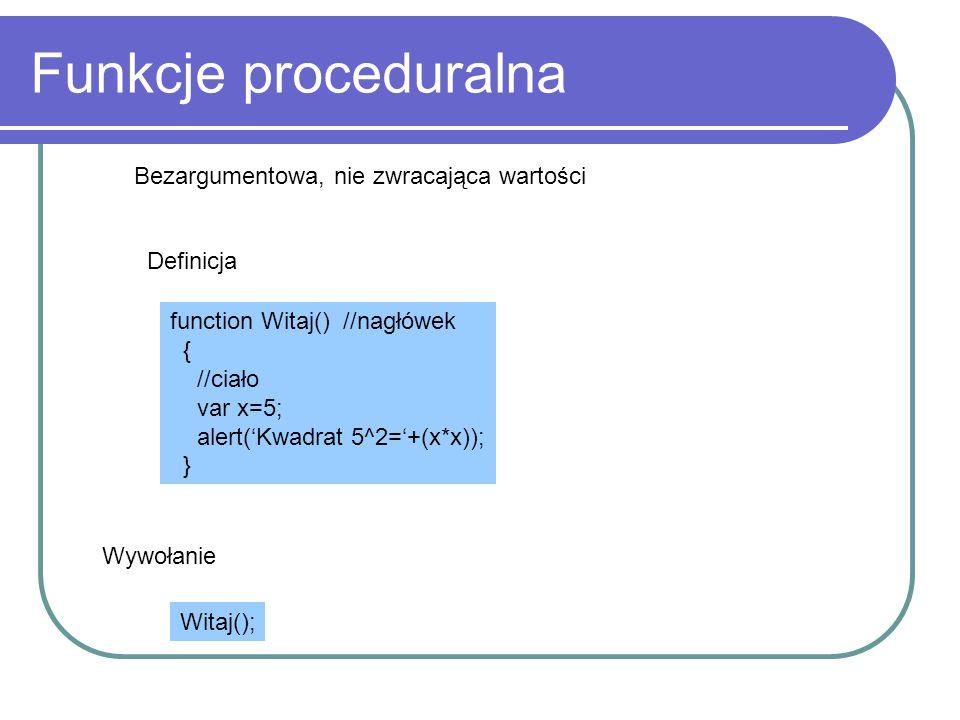 Funkcje proceduralna Bezargumentowa, nie zwracająca wartości Definicja
