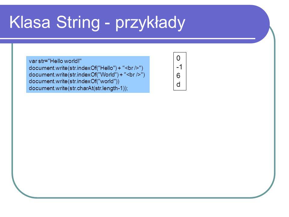 Klasa String - przykłady
