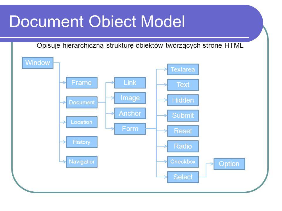 Document Obiect Model Opisuje hierarchiczną strukturę obiektów tworzących stronę HTML. Window. Textarea.