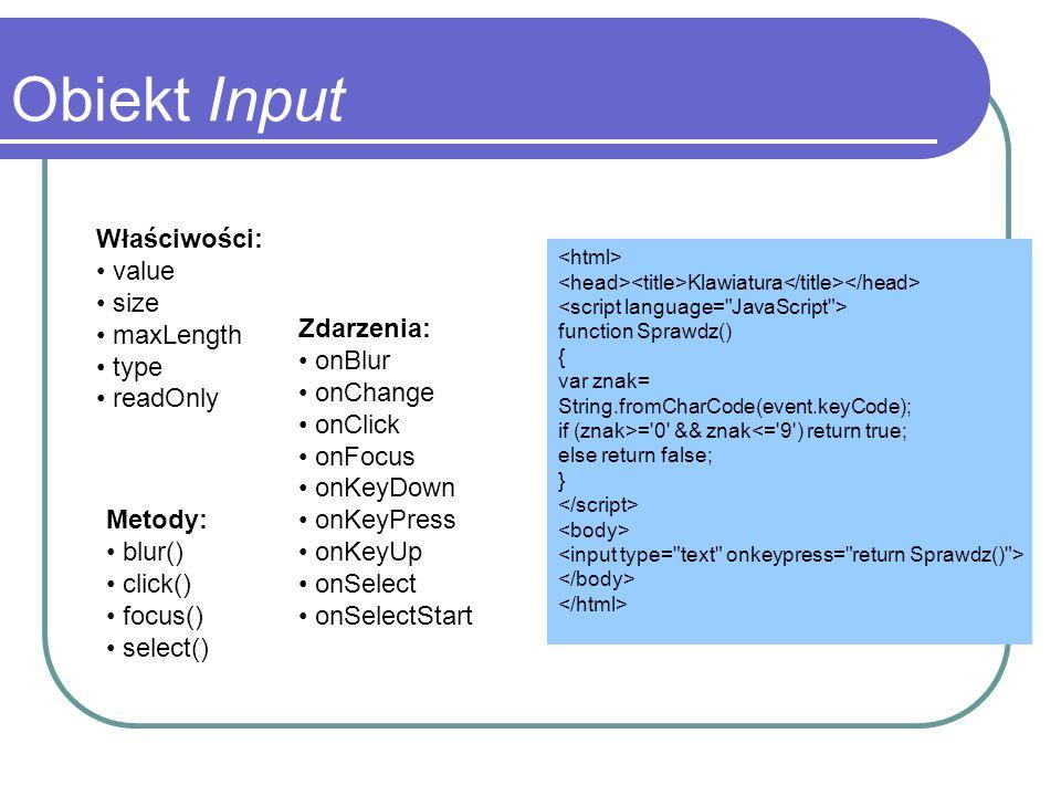 Obiekt Input Właściwości: value size maxLength type readOnly