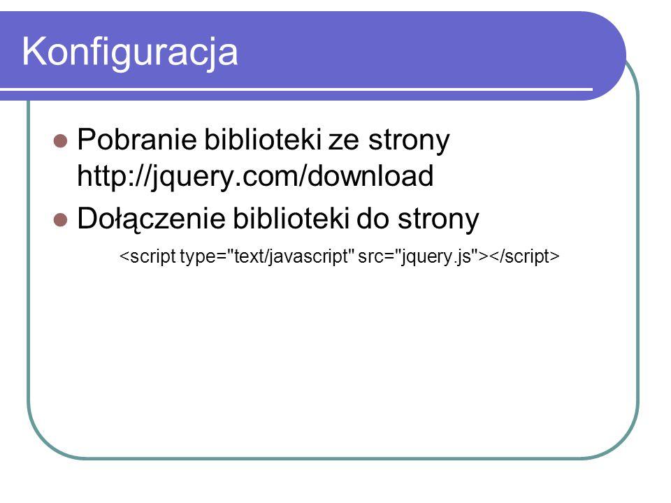Konfiguracja Pobranie biblioteki ze strony http://jquery.com/download
