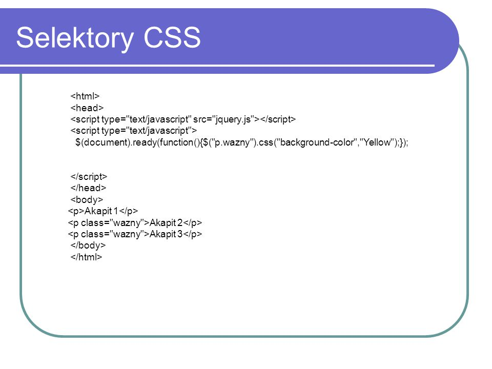 Selektory CSS <html> <head>