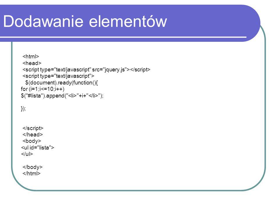 Dodawanie elementów <html> <head>