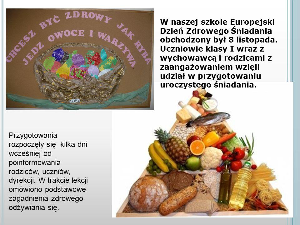 W naszej szkole Europejski Dzień Zdrowego Śniadania obchodzony był 8 listopada.