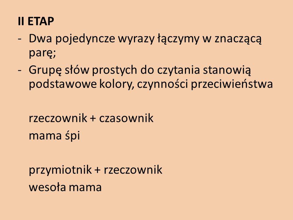 II ETAP Dwa pojedyncze wyrazy łączymy w znaczącą parę; Grupę słów prostych do czytania stanowią podstawowe kolory, czynności przeciwieństwa.