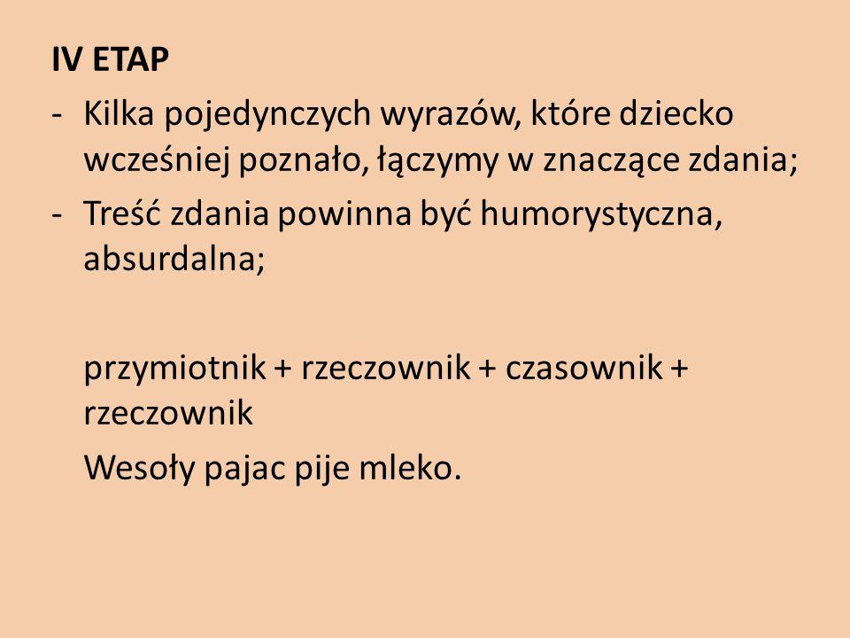 IV ETAP Kilka pojedynczych wyrazów, które dziecko wcześniej poznało, łączymy w znaczące zdania; Treść zdania powinna być humorystyczna, absurdalna;