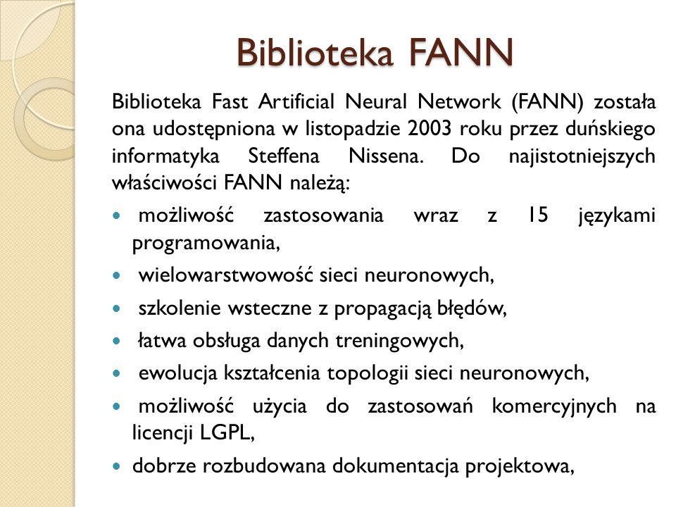Biblioteka FANN