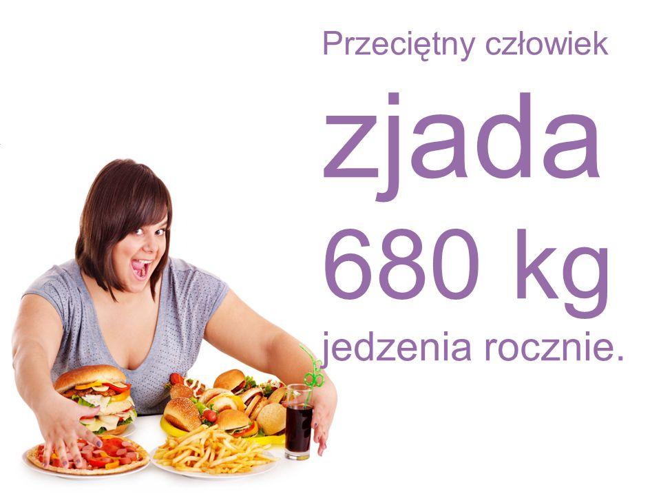 Przeciętny człowiek zjada 680 kg jedzenia rocznie.