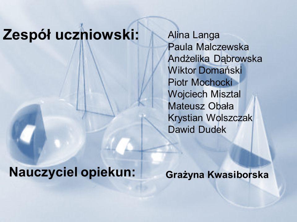 Zespół uczniowski: Nauczyciel opiekun: Alina Langa Paula Malczewska