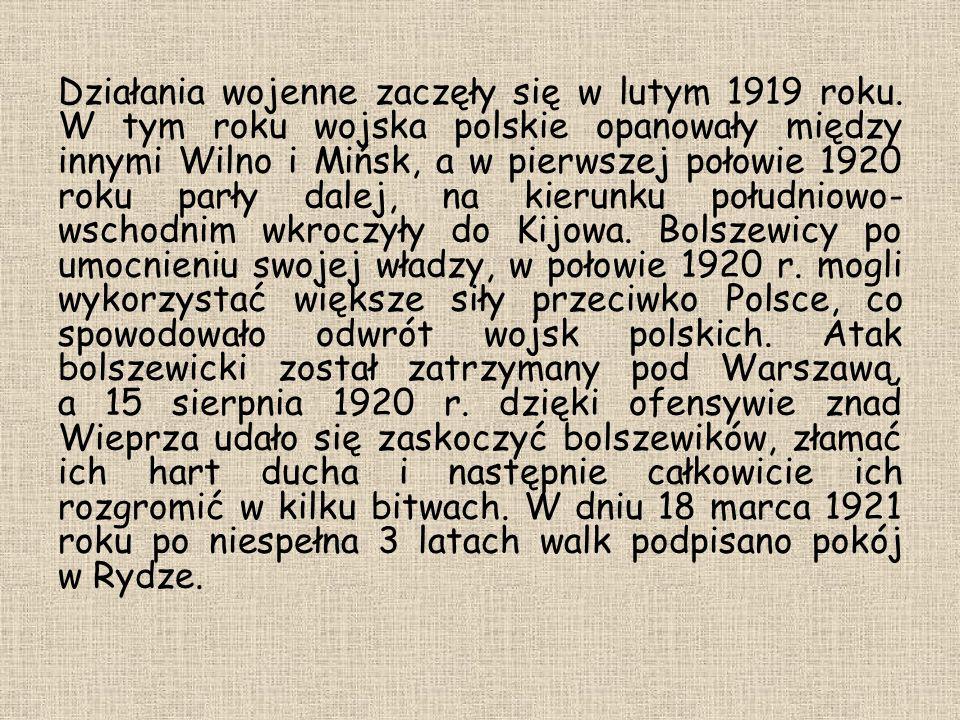 Działania wojenne zaczęły się w lutym 1919 roku