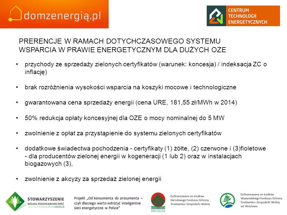PRERENCJE W RAMACH DOTYCHCZASOWEGO SYSTEMU WSPARCIA W PRAWIE ENERGETYCZNYM DLA DUŻYCH OZE
