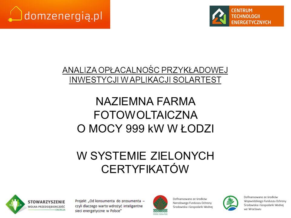 NAZIEMNA FARMA FOTOWOLTAICZNA O MOCY 999 kW W ŁODZI
