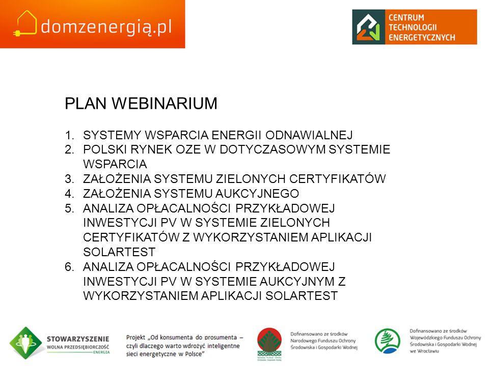 PLAN WEBINARIUM SYSTEMY WSPARCIA ENERGII ODNAWIALNEJ
