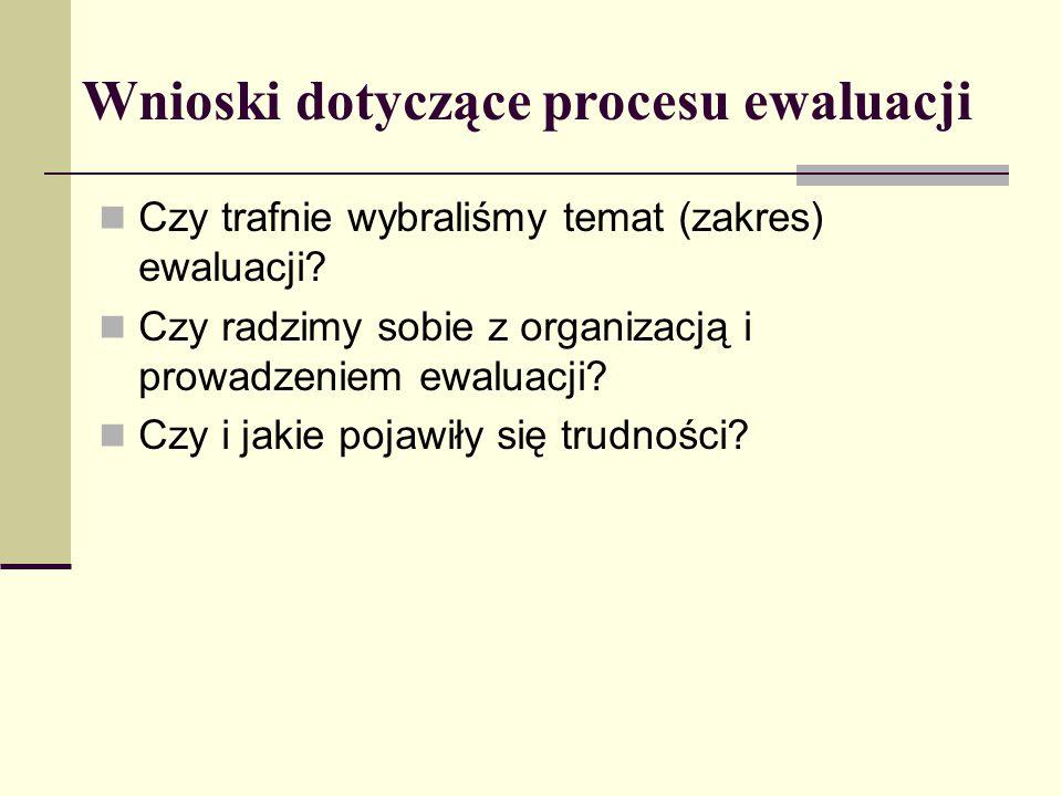 Wnioski dotyczące procesu ewaluacji