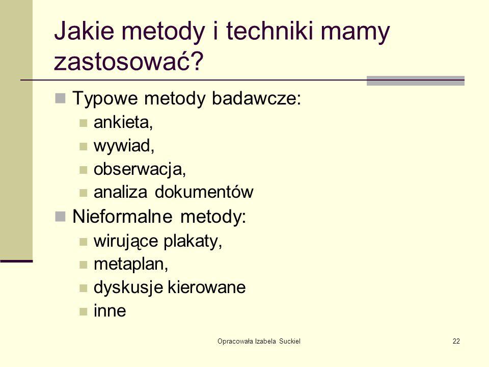 Jakie metody i techniki mamy zastosować