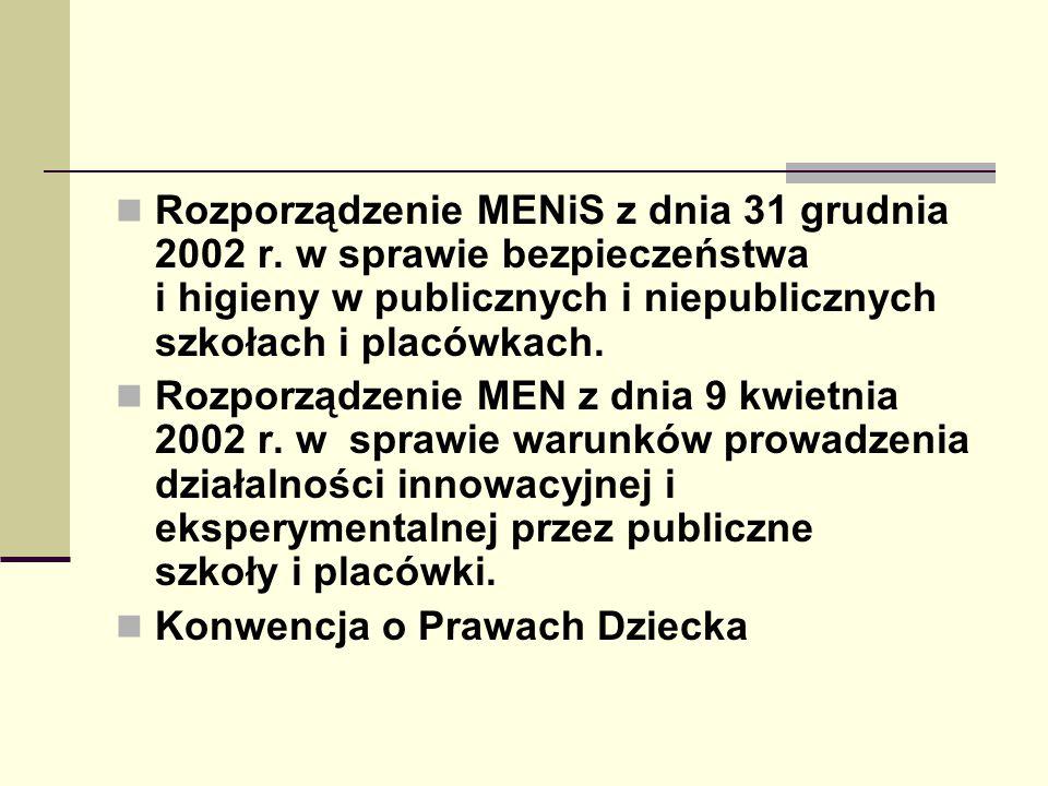 Rozporządzenie MENiS z dnia 31 grudnia 2002 r