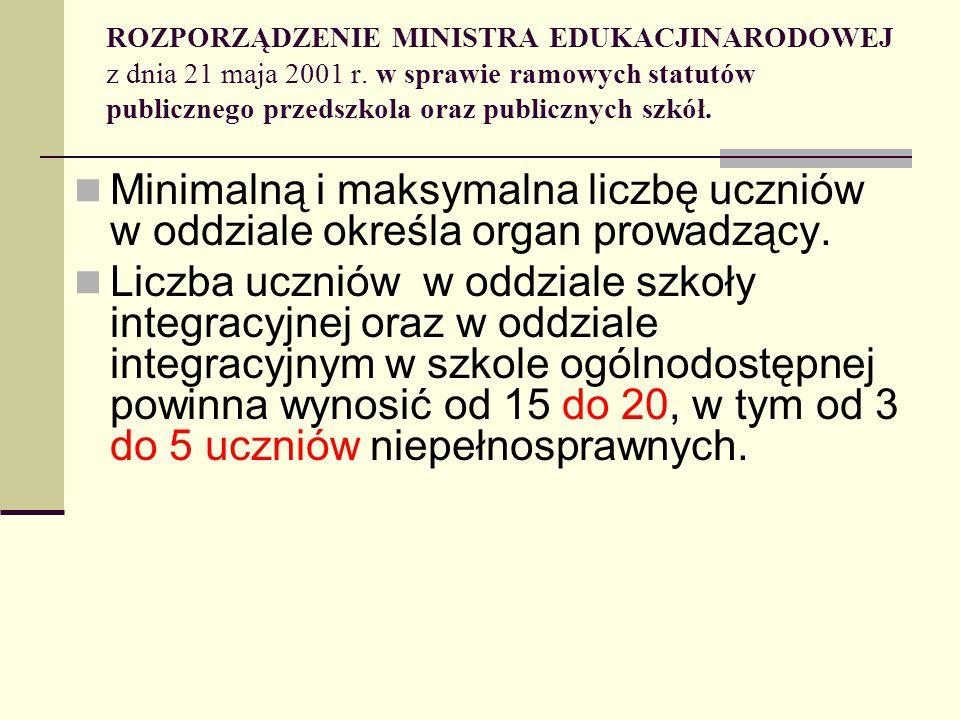 ROZPORZĄDZENIE MINISTRA EDUKACJINARODOWEJ z dnia 21 maja 2001 r