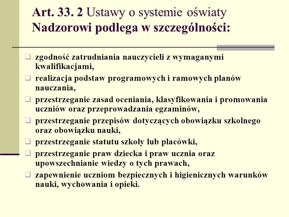 Art. 33. 2 Ustawy o systemie oświaty Nadzorowi podlega w szczególności: