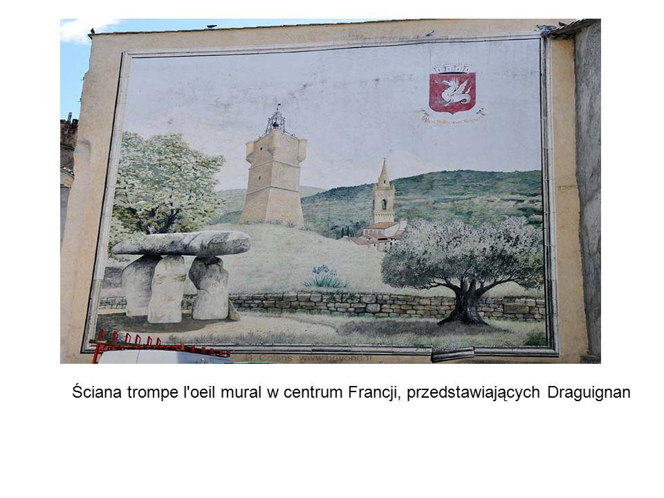 Ściana trompe l oeil mural w centrum Francji, przedstawiających Draguignan