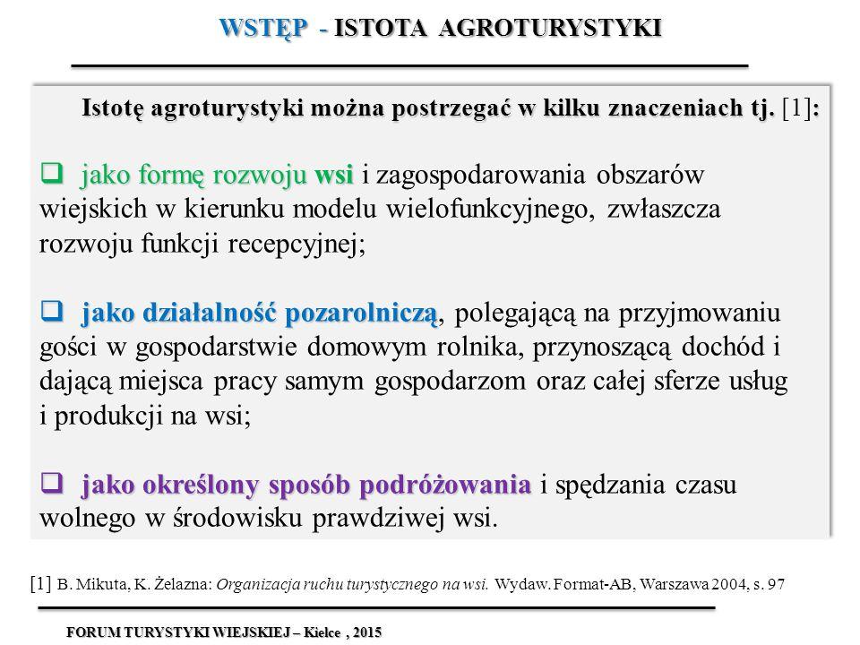 WSTĘP - ISTOTA AGROTURYSTYKI