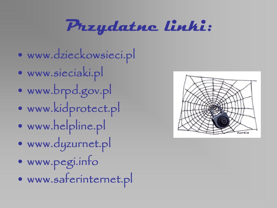 Przydatne linki: www.dzieckowsieci.pl www.sieciaki.pl www.brpd.gov.pl