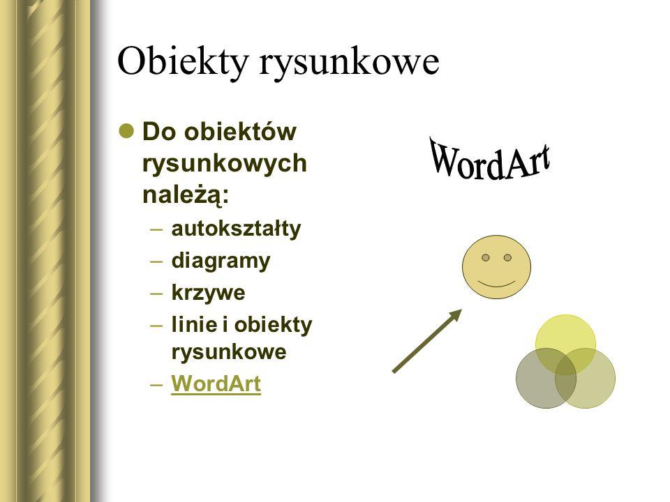 Obiekty rysunkowe WordArt Do obiektów rysunkowych należą: autokształty