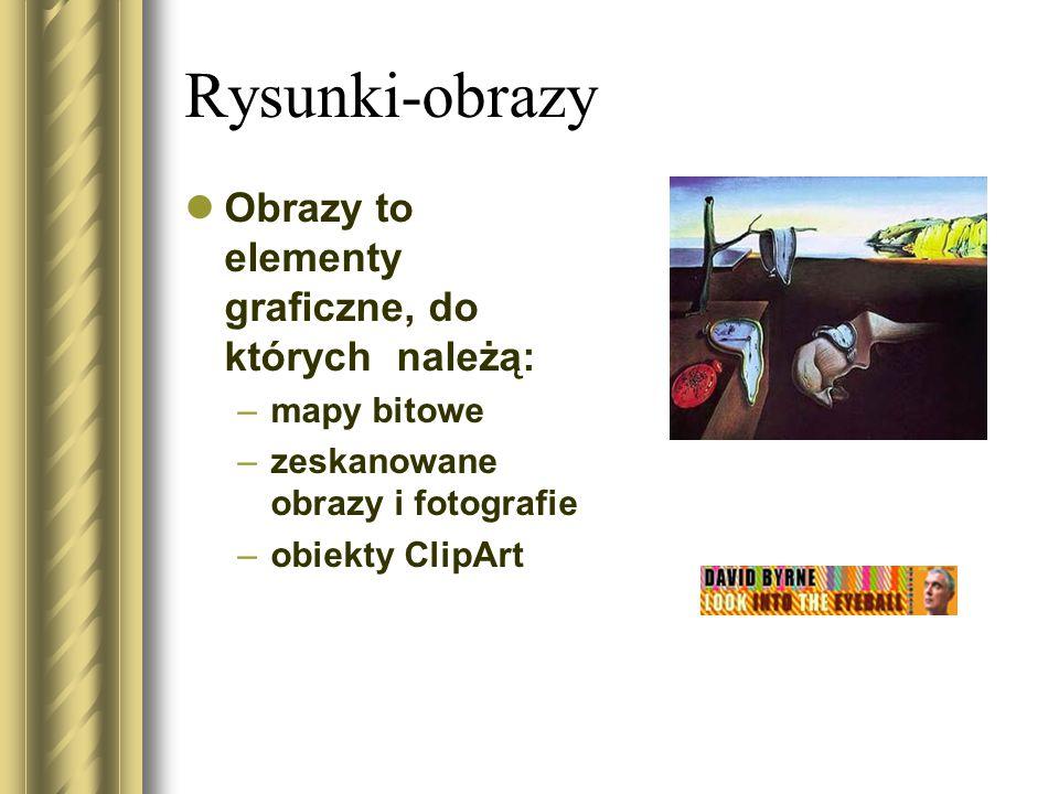 Rysunki-obrazy Obrazy to elementy graficzne, do których należą: