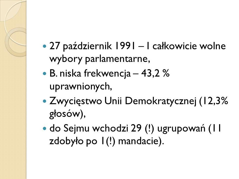 27 październik 1991 – I całkowicie wolne wybory parlamentarne,