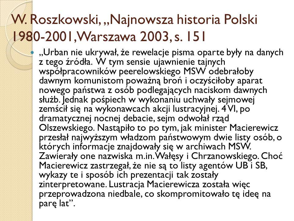 """W. Roszkowski, """"Najnowsza historia Polski 1980-2001, Warszawa 2003, s"""