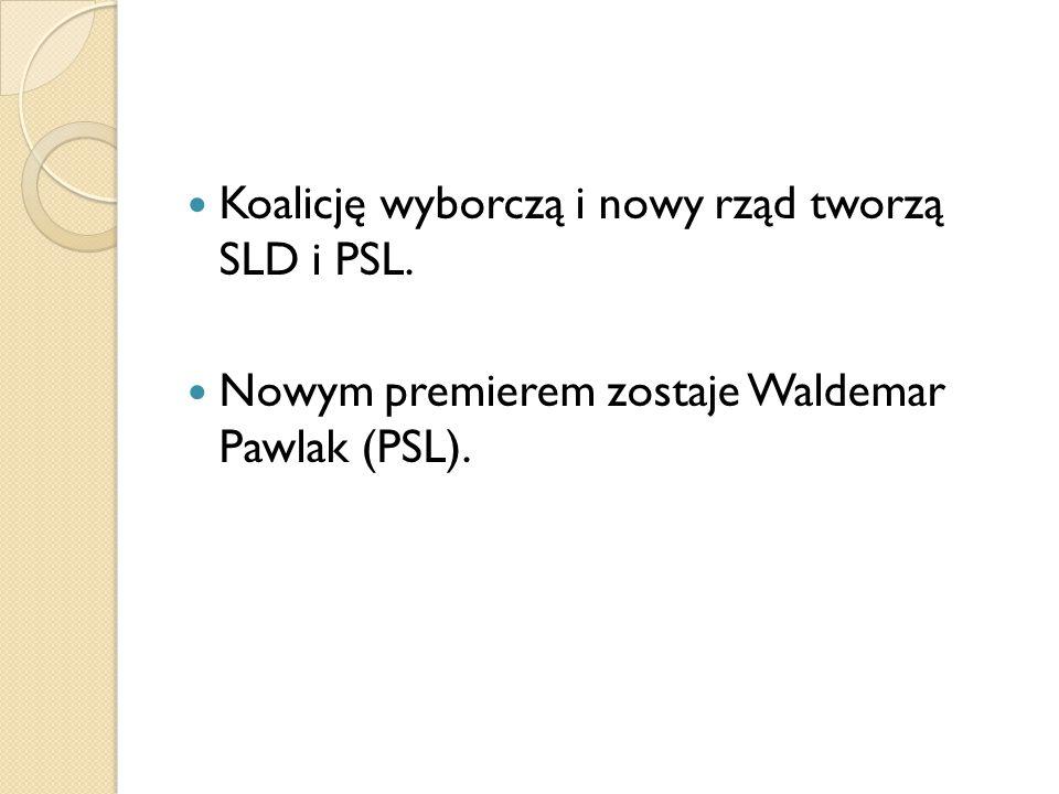 Koalicję wyborczą i nowy rząd tworzą SLD i PSL.