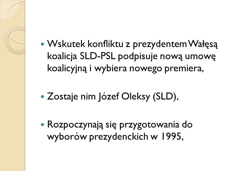 Wskutek konfliktu z prezydentem Wałęsą koalicja SLD-PSL podpisuje nową umowę koalicyjną i wybiera nowego premiera,