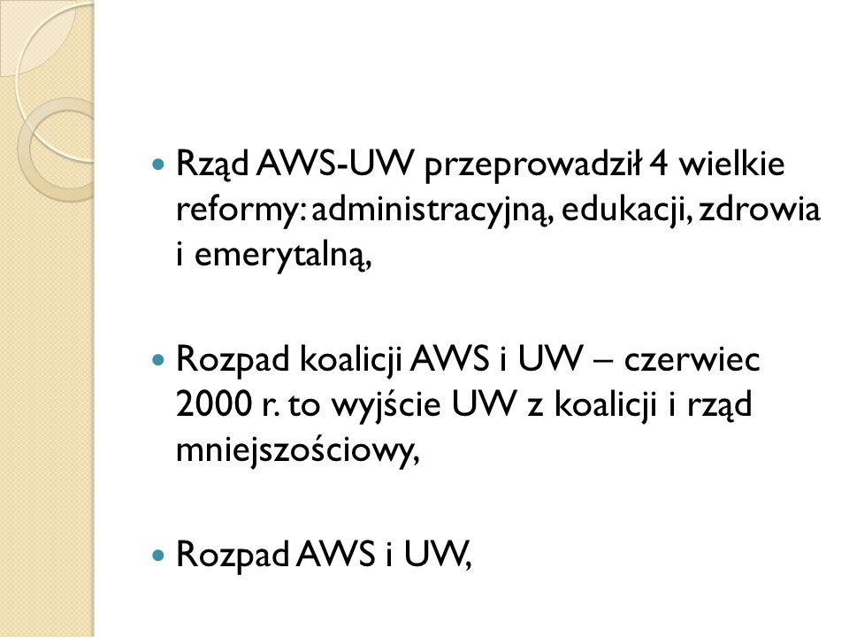 Rząd AWS-UW przeprowadził 4 wielkie reformy: administracyjną, edukacji, zdrowia i emerytalną,