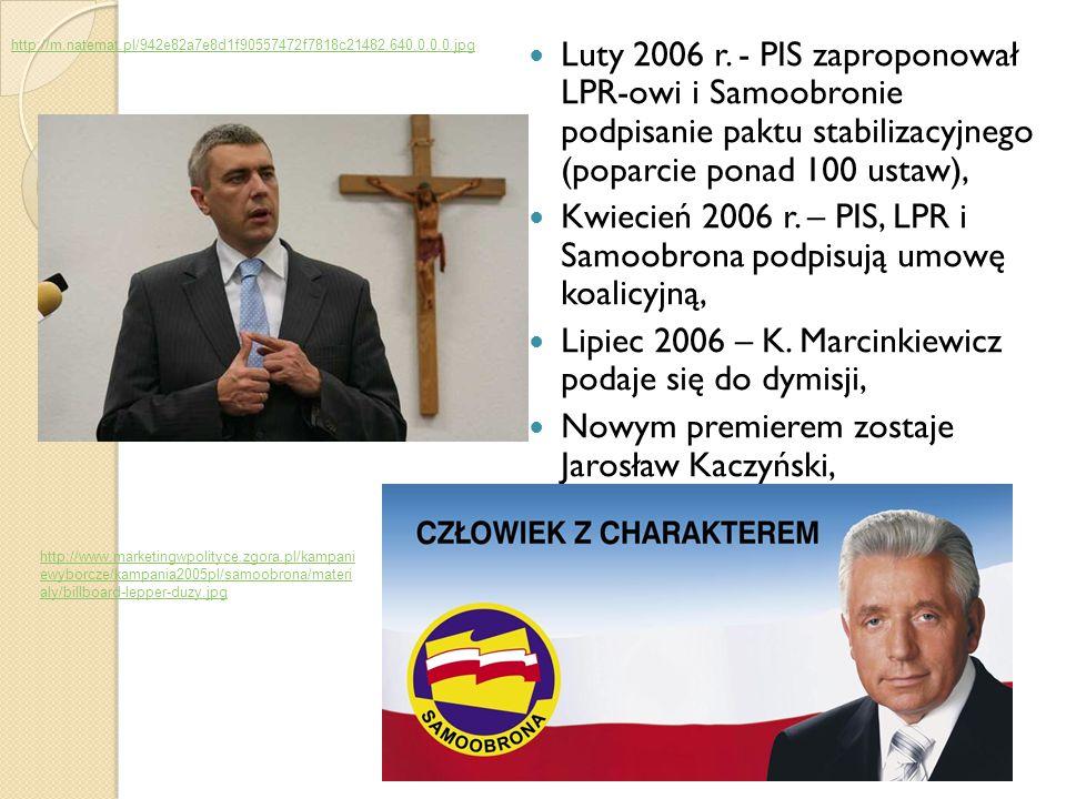 Kwiecień 2006 r. – PIS, LPR i Samoobrona podpisują umowę koalicyjną,