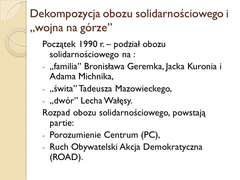"""Dekompozycja obozu solidarnościowego i """"wojna na górze"""
