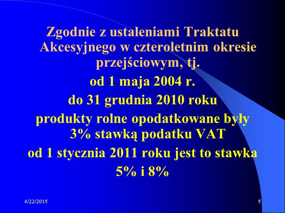produkty rolne opodatkowane były 3% stawką podatku VAT