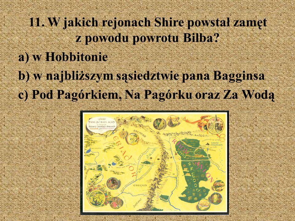 11. W jakich rejonach Shire powstał zamęt z powodu powrotu Bilba