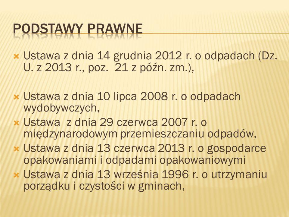 Podstawy Prawne Ustawa z dnia 14 grudnia 2012 r. o odpadach (Dz. U. z 2013 r., poz. 21 z późn. zm.),
