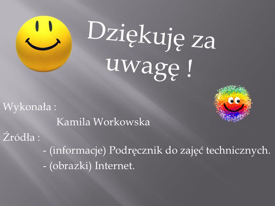 Dziękuję za uwagę ! Wykonała : Kamila Workowska
