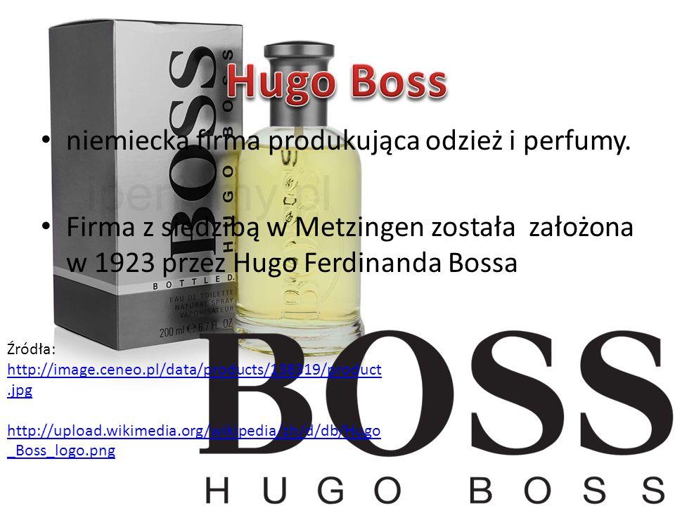 Hugo Boss niemiecka firma produkująca odzież i perfumy.