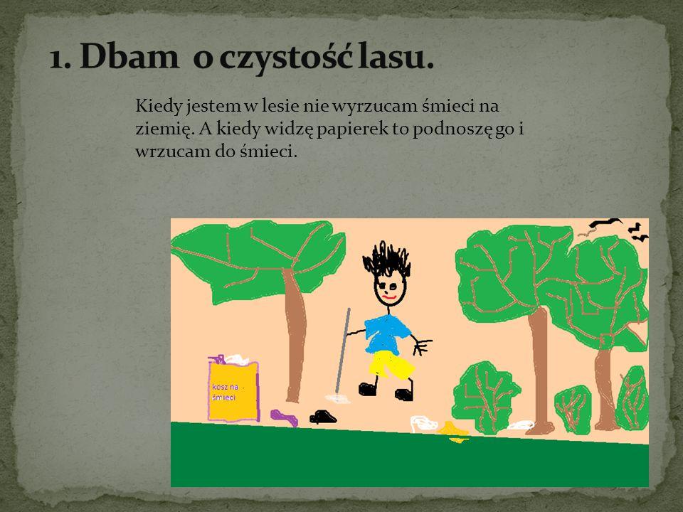 1. Dbam o czystość lasu. Kiedy jestem w lesie nie wyrzucam śmieci na ziemię.