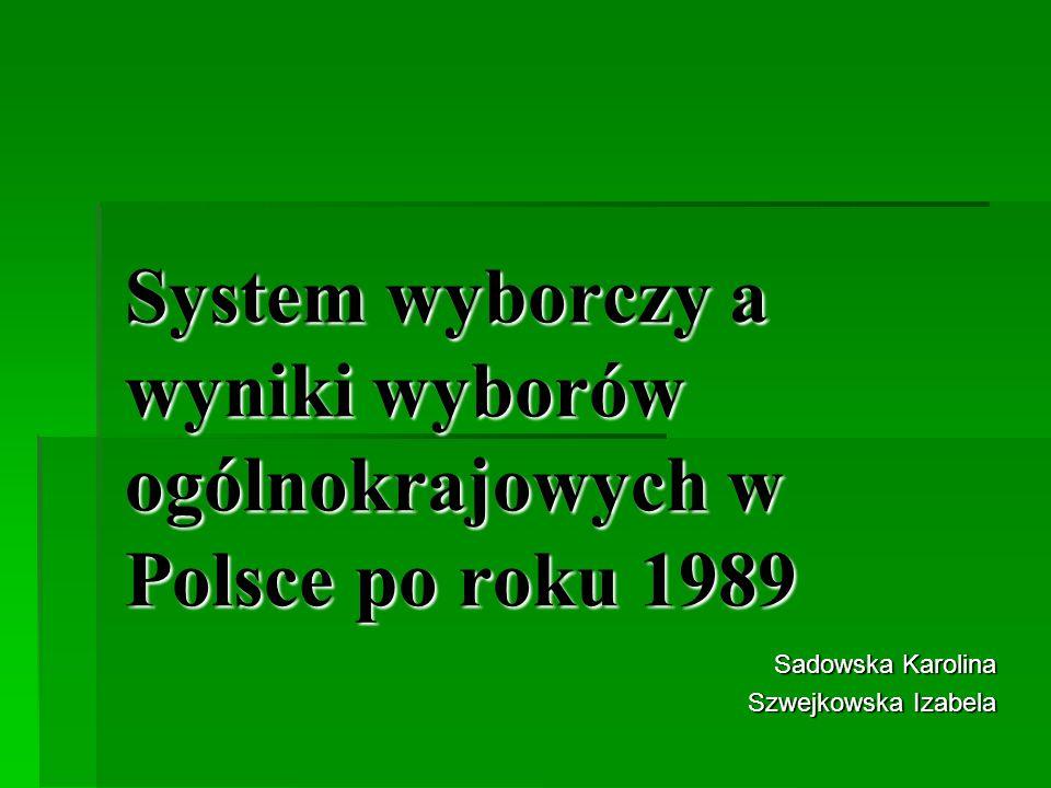 System wyborczy a wyniki wyborów ogólnokrajowych w Polsce po roku 1989