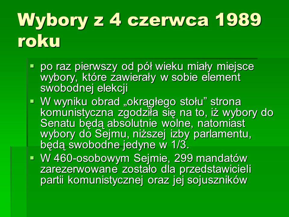 Wybory z 4 czerwca 1989 roku po raz pierwszy od pół wieku miały miejsce wybory, które zawierały w sobie element swobodnej elekcji.