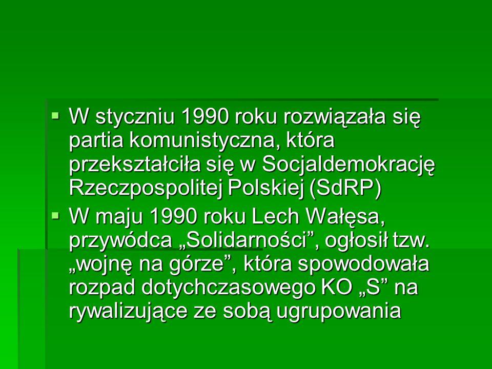 W styczniu 1990 roku rozwiązała się partia komunistyczna, która przekształciła się w Socjaldemokrację Rzeczpospolitej Polskiej (SdRP)