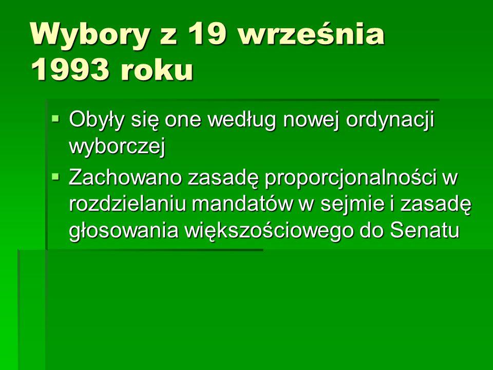Wybory z 19 września 1993 roku Obyły się one według nowej ordynacji wyborczej.