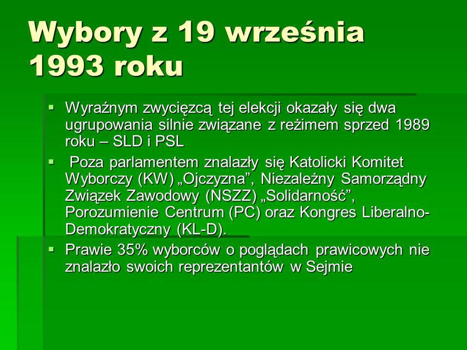 Wybory z 19 września 1993 roku Wyraźnym zwycięzcą tej elekcji okazały się dwa ugrupowania silnie związane z reżimem sprzed 1989 roku – SLD i PSL.
