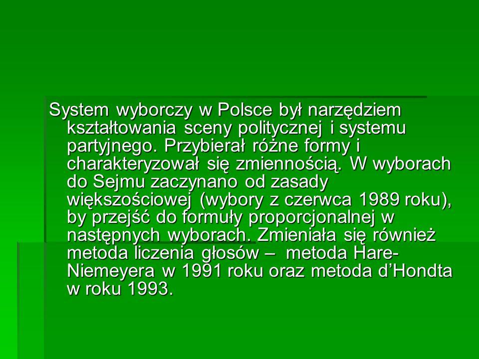 System wyborczy w Polsce był narzędziem kształtowania sceny politycznej i systemu partyjnego.