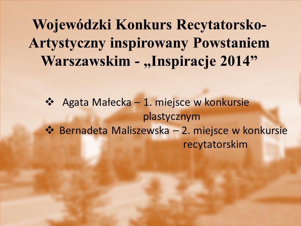 """Wojewódzki Konkurs Recytatorsko- Artystyczny inspirowany Powstaniem Warszawskim - """"Inspiracje 2014"""