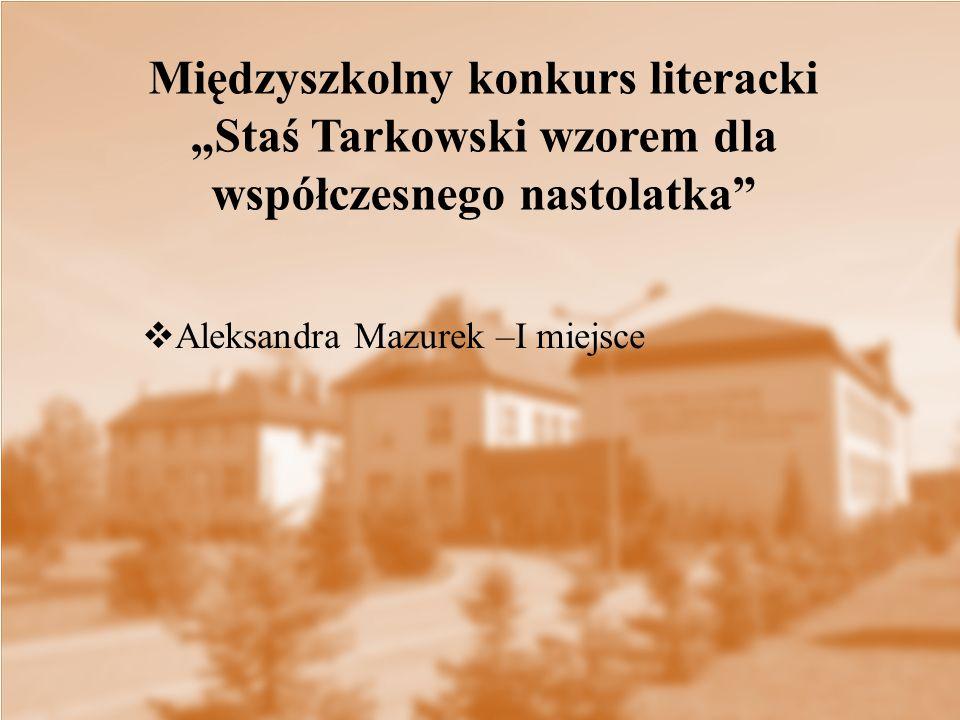 """Międzyszkolny konkurs literacki """"Staś Tarkowski wzorem dla współczesnego nastolatka"""