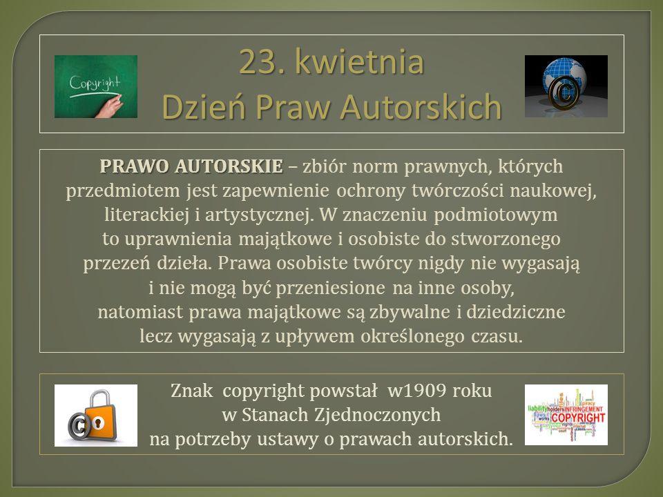 23. kwietnia Dzień Praw Autorskich